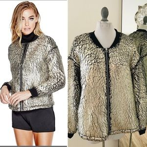 Guess Lucia metallic painted fur bomber jacket L